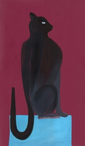 Gato Negro - Javier Lozano 51,5x31cm acuarela sobre papel