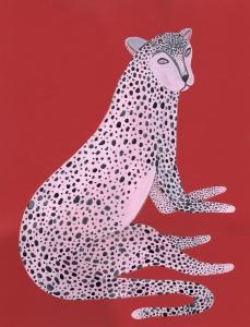 Guepardo Blanco - Javier Lozano - 41,5x31,5cm acuarela sobre papel